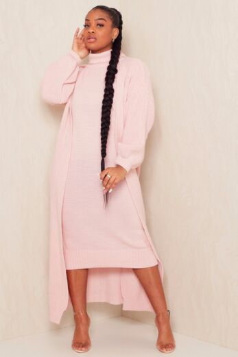 Eve Satisfied Knitted Turtle Neck Set Blush