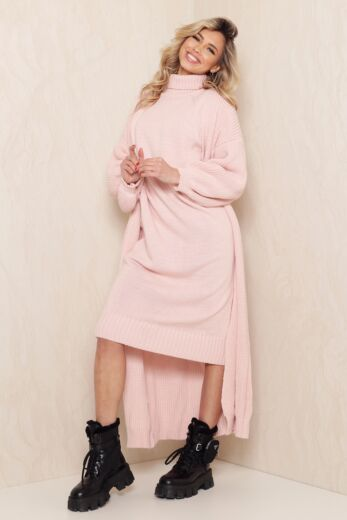 Satisfied Knitted Turtle Neck Set Blush