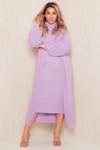 Satisfied Knitted Turtle Neck Set Lila