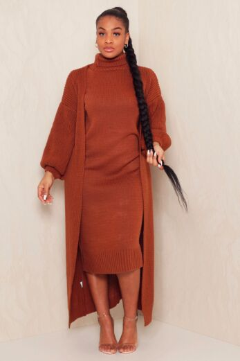 Satisfied Knitted Turtle Neck Set Rust