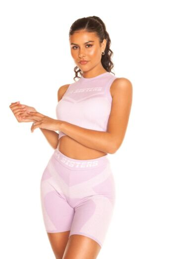 LA Sisters Cropped Knitted Sporty Two Piece Lilac Front