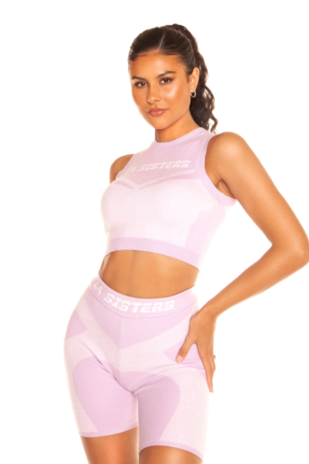 Cropped Knitted Sporty Two Piece Lilac
