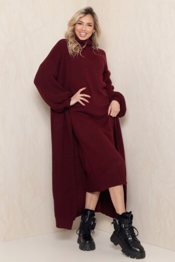 Eve Satisfied Knitted Turtle Neck Set Bordeaux Ruby