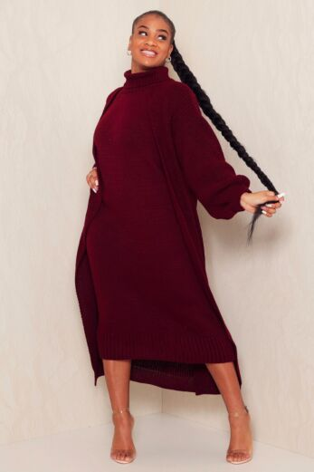 Satisfied Knitted Turtle Neck Set Bordeaux