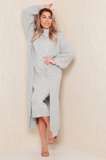 Eve Satisfied Knitted Turtle Neck Set Grey Front