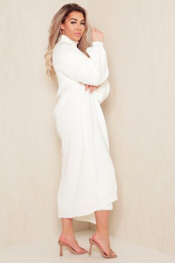 Satisfied Knitted Turtle Neck Set White