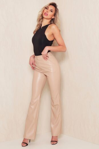 Eve Nala Leather Flare Pants Nude