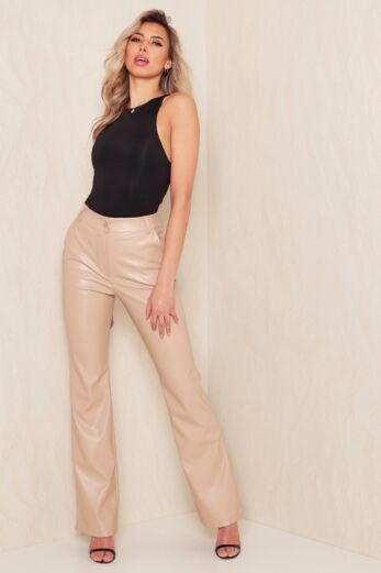 Nala Leather Flare Pants Nude