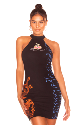 LA Sisters Mini Cherry Dress Black Front