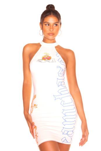 LA Sisters Mini Cherry Dress White Front