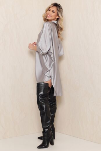 Satin Oversized Blouse Dress Grey