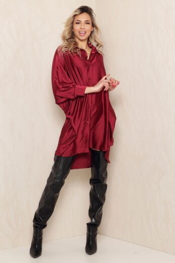 Satin Oversized Blouse Dress Bordeaux