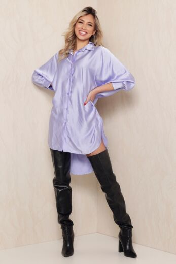 Eve Satin Oversized Blouse Dress Lila Front
