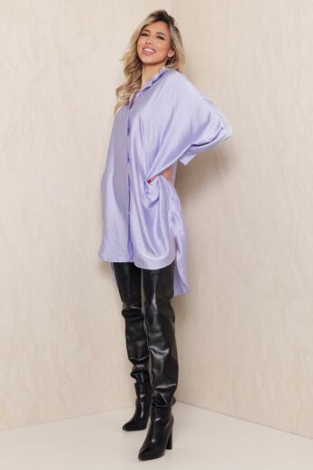 Satin Oversized Blouse Dress Lila