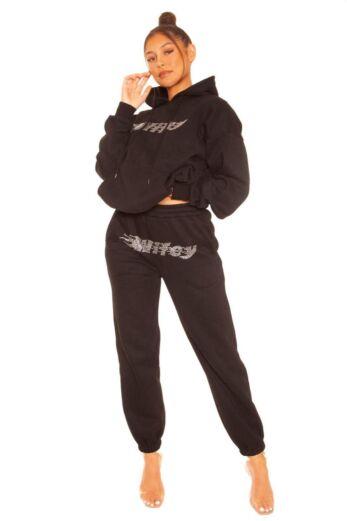 Rhinestone Wifey Sweatpants Black