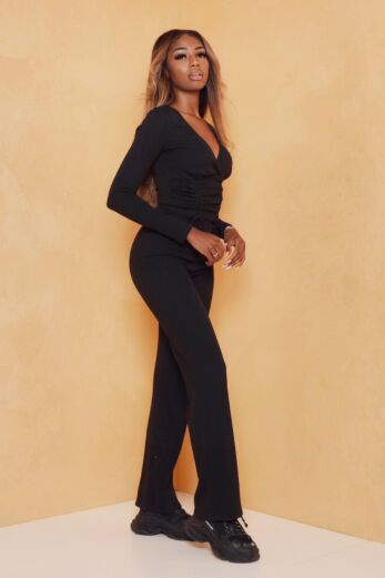 Change of Heart Ruched Two Piece Black