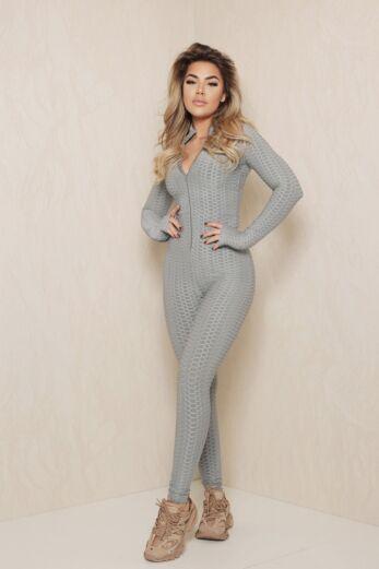 Honeycomb Zipper Jumpsuit Grey