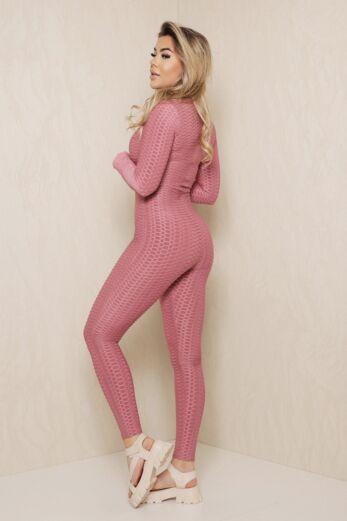 Honeycomb Zipper Jumpsuit Blush