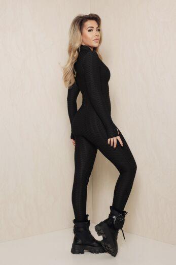 Honeycomb Zipper Jumpsuit Black
