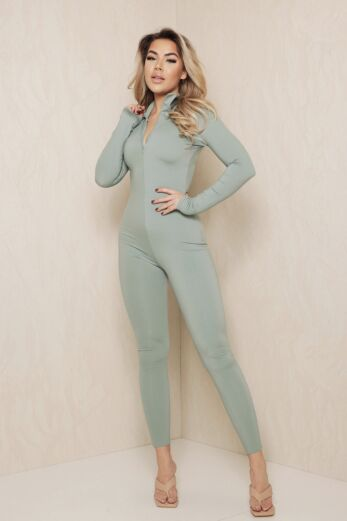 Eve 'T Will Next Time Zipper Jumpsuit Sage Green Side