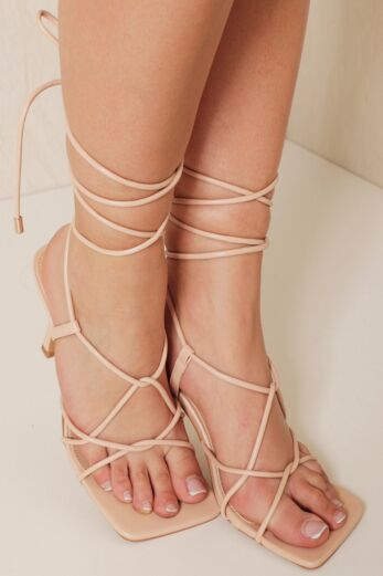 Eve Right On Line Lace Up Heels Nude
