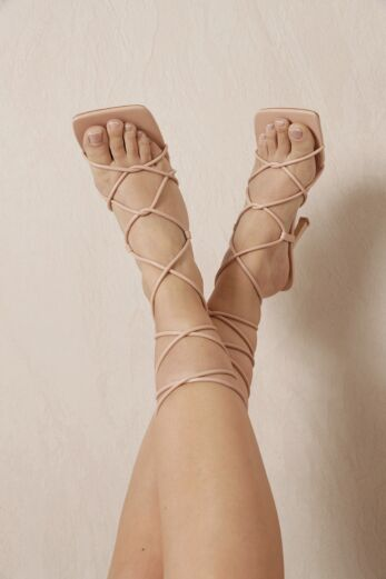 Right On Line Lace Up Heels Nude