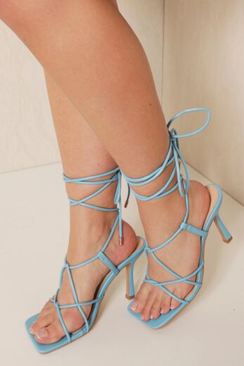 Eve Right On Line Lace Up Heels Blue