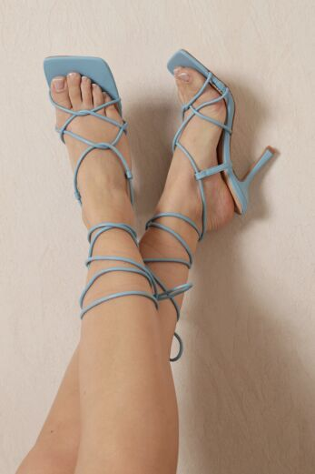 Right On Line Lace Up Heels Blue