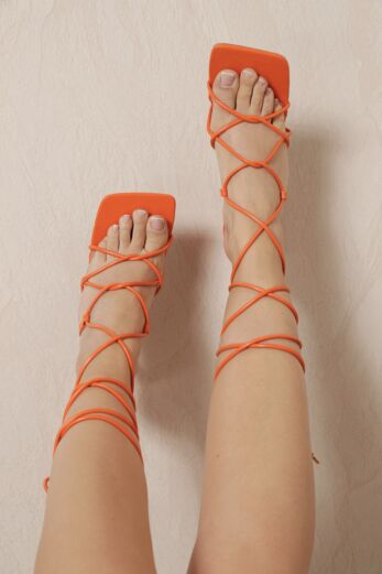 Eve Right On Line Lace Up Heels Orange
