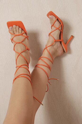 Right On Line Lace Up Heels Orange