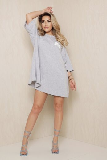 D Oversized T-Shirt Dress Grey