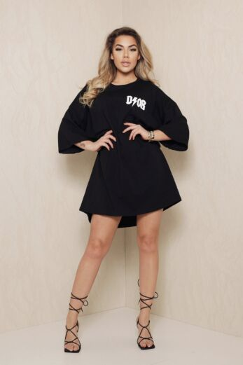 D Oversized T-Shirt Dress Black