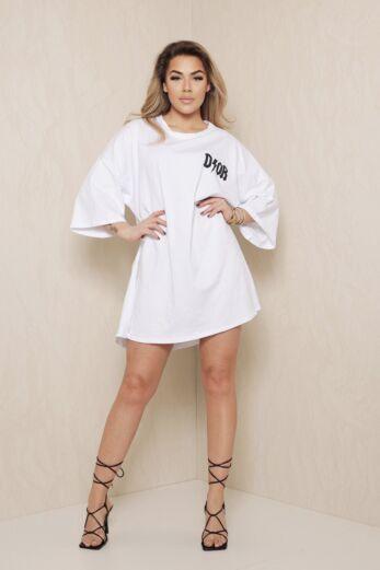 D Oversized T-Shirt Dress White