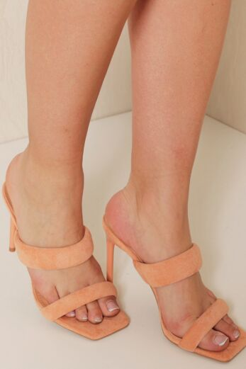 Eve Lovers Suede Mules Peach