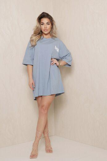 Eve D Oversized T-Shirt Dress Blue Front