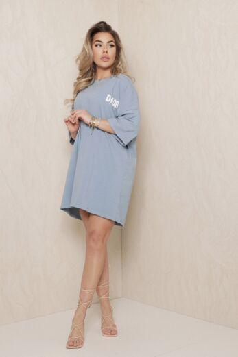 D Oversized T-Shirt Dress Blue