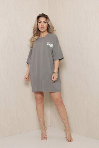 Eve D Oversized T-Shirt Dress Dark Grey Front