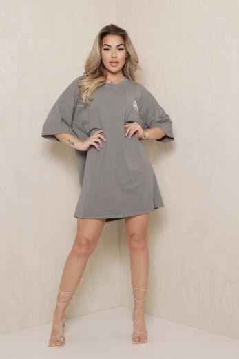 D Oversized T-Shirt Dress Dark Grey