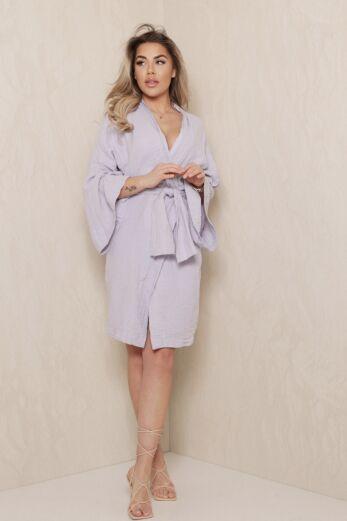 Eve Vision Classy Linnen Kimono Lila Front