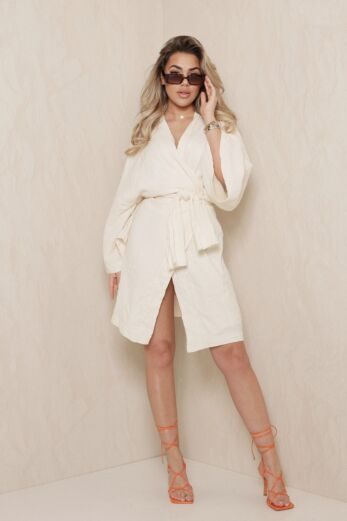Eve Vision Classy Linnen Kimono Creme Front