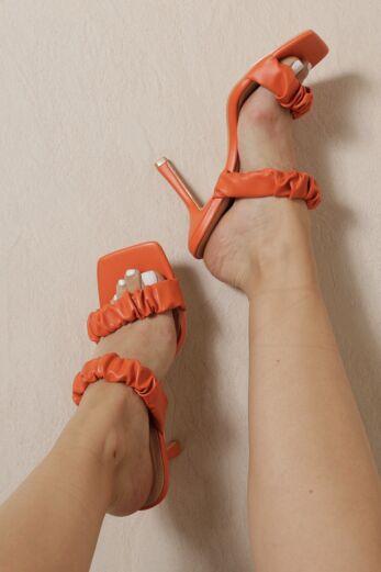 Eve Romance Ruffle Mules Orange Front