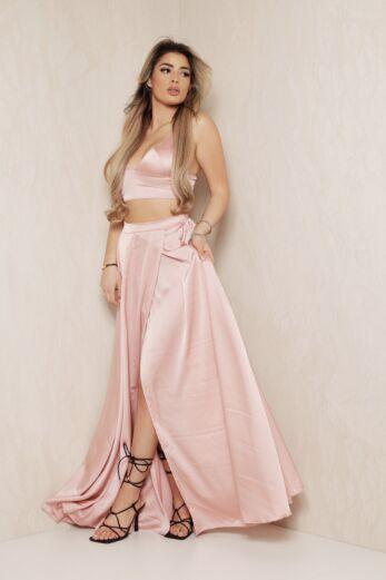 1001 Nights Satin Two Piece Pink