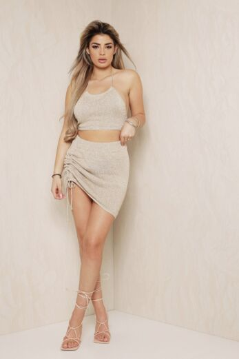 Eve Malibu Halter Two Piece Gold Front