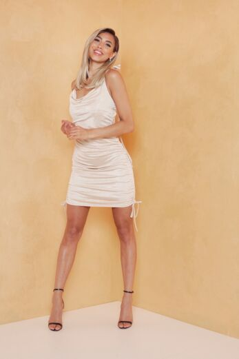 Eve Vacay Ruched Silk Dress Gold Front