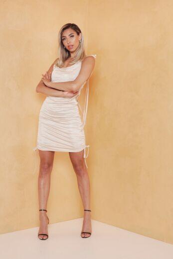 Vacay Ruched Silk Dress Gold