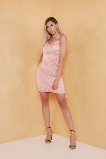Vacay Ruched Silk Dress Pink