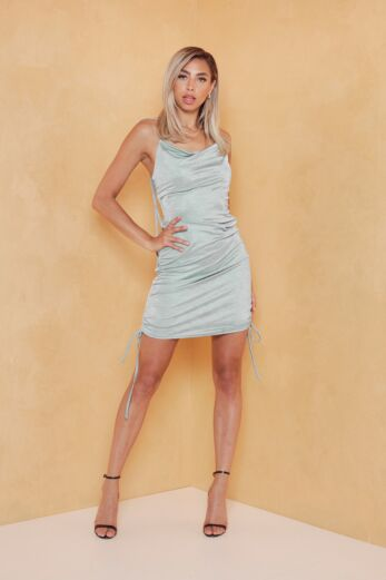 Eve Vacay Ruched Silk Dress Sage Green Front