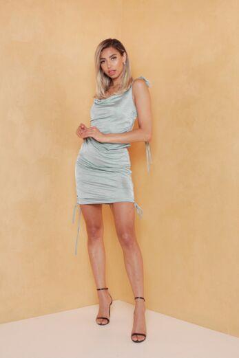 Vacay Ruched Silk Dress Sage Green