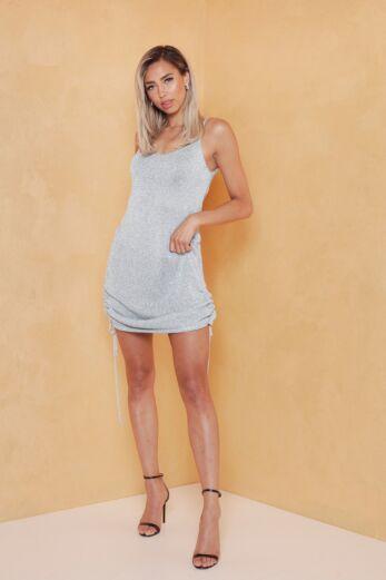 Eve Malibu Ruched Dress Ice Blue Front
