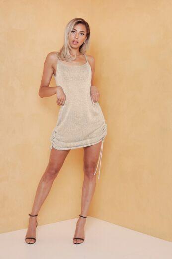 Malibu Ruched Dress Gold